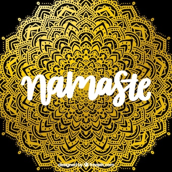 Namaste background with golden mandala