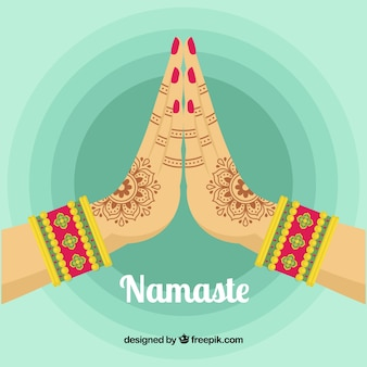Namaste background with greeting in flat design