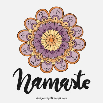 Namaste background with hand drawn mandala in vintage style
