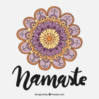 Namaste background with hand drawn mandala in vintage style