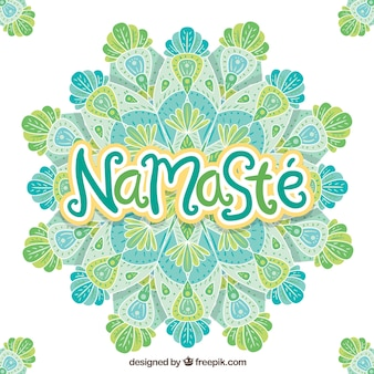 Namaste background with hand drawn mandala