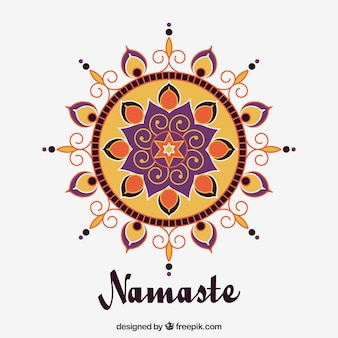 Namaste background with mandala in flat design