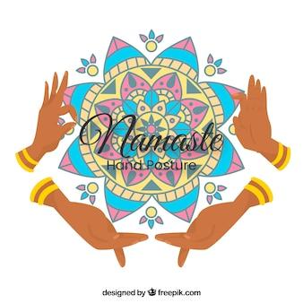 Namaste background with mandala