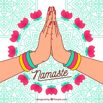 Namaste background with mandalas and hand drawn hands