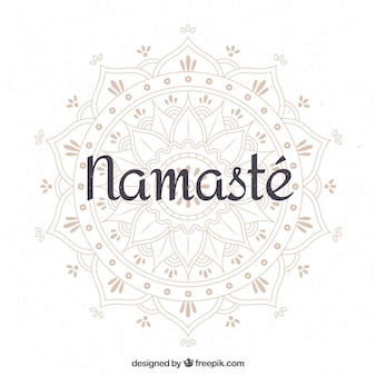 Namaste background with pretty hand drawn mandala