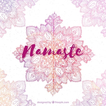 Namaste background with watercolor mandala decoration