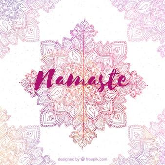 Namaste background with watercolor mandala decoration