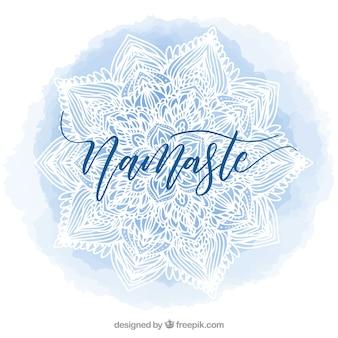 曼陀羅とナマステ青色の水彩の背景