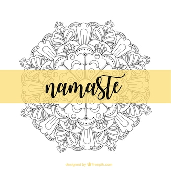 Namaste decorative background with hand drawn mandala