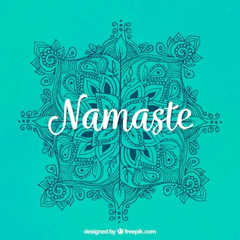 Namaste green background with hand drawn mandala