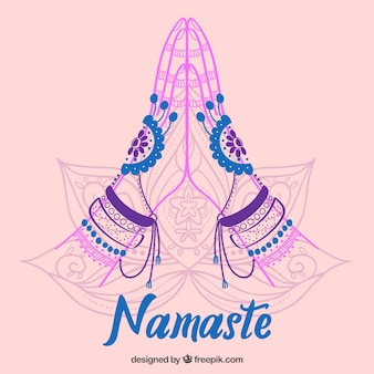 Namaste greeting sketch background