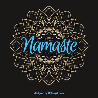 Namaste lettering with elegant mandala