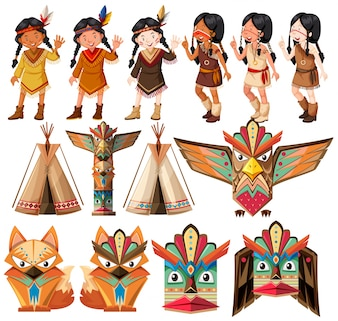 Native american indians and traditional craft set illustration