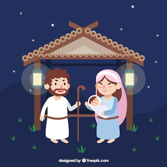 Nativity portal background with lovely characters