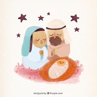 Nativity scene background in watercolor effect