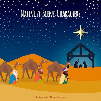 Nativity scene characters illustration