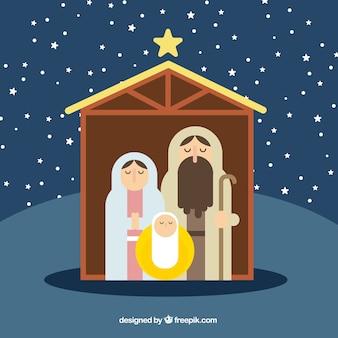 Nativity scene in minimalist style
