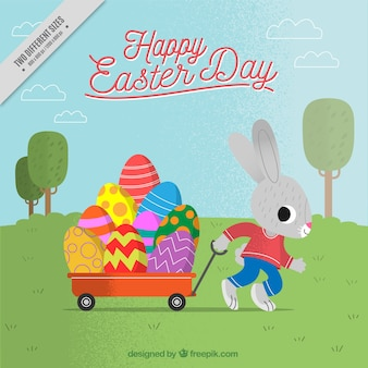 Natural background of rabbit with easter eggs