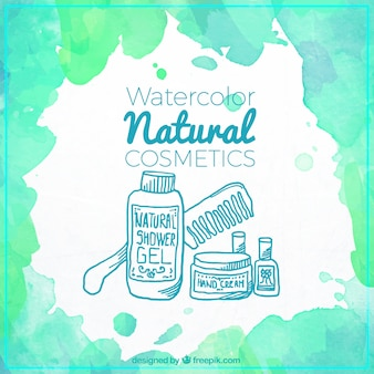 Natural cosmetics painted with watercolor