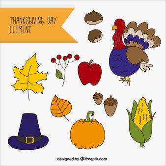 Natural elements set of thanksgiving