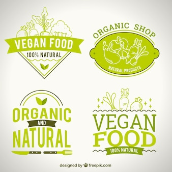 Natural food logotypes for vegan restaurant