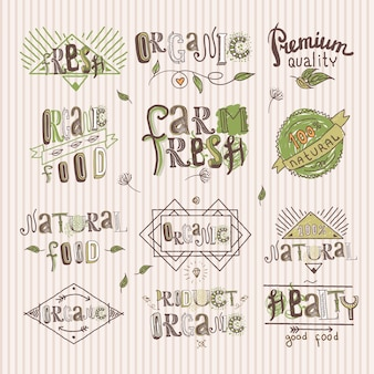Natural fresh organic premium quality food labels set isolated vector illustration