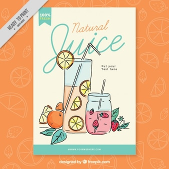Natural juice poster with orange and straberry juice
