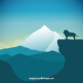 Natural landscape with a silhouette of a lion