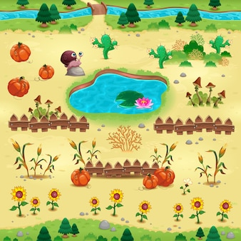 Natural landscape with pumpkins and flowers for video games