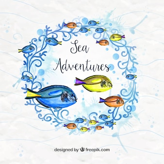 Natural nature wreath background with watercolor fish
