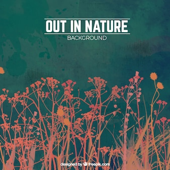 Nature background with read leaves