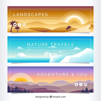 Nature banners at sunset