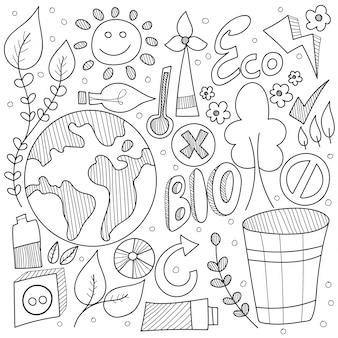 黒と白のビジネスサイン、シンボル、アイコン付きの自然落書き。