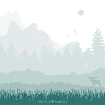 Nature landscape silhouettes