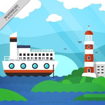Nautical background with a boat and a lighthouse
