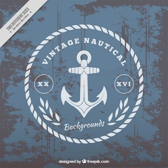 Nautical background with anchor in vintage style