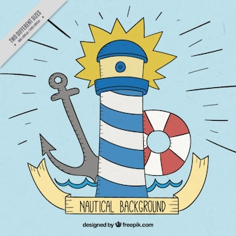 Nautical background with hand-drawn sailor elements