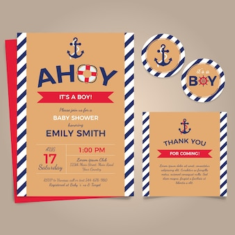 Nautical card for baby shower