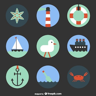 Nautical elements collection with a boat and an anchor
