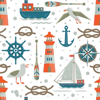 Nautical elements pattern background