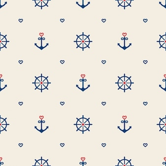 Nautical elements pattern design