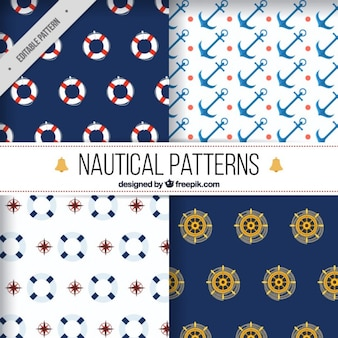 Nautical elements patterns pack
