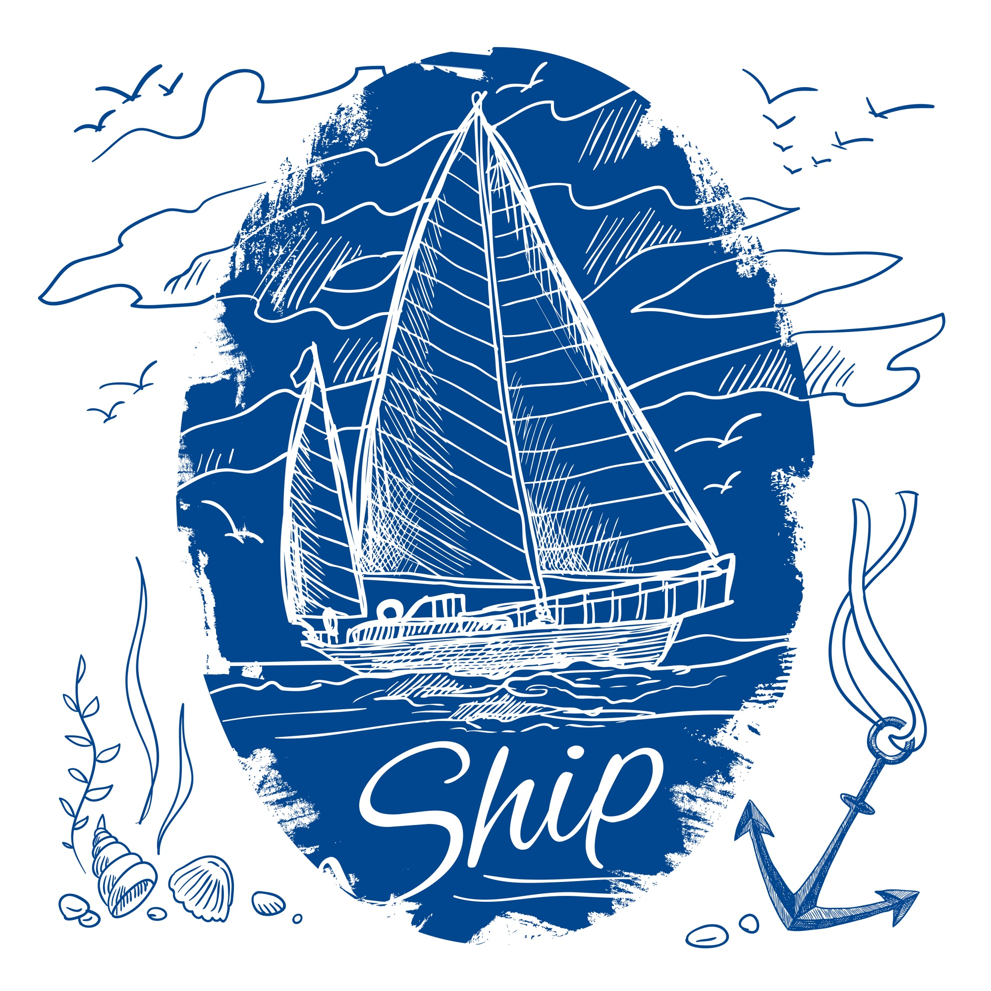 Nautical emblem with blue colored sketch sailing schooner ship and sea background vector illustration