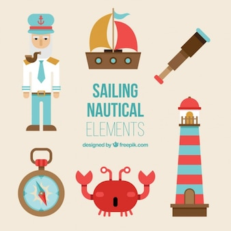 Nautical objects in flat design
