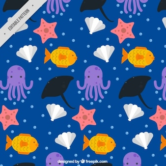 Nautical pattern with octopuses and shells