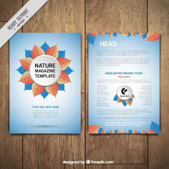 Nauture magazine template with a flower