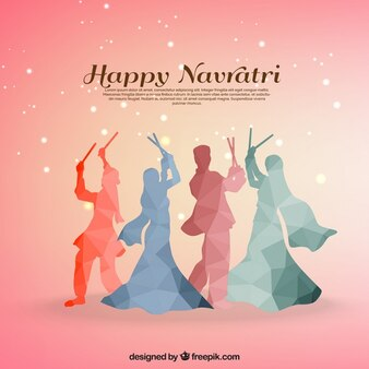 Navratri background with traditional dance in polygonal style