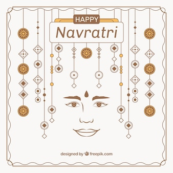 Navratri greeting card with ornaments
