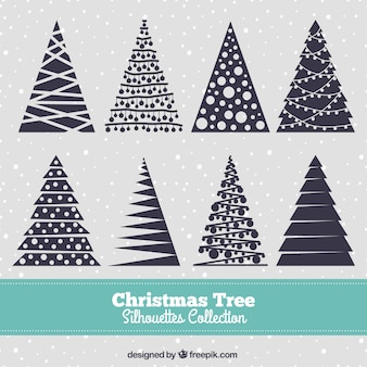Navy blue christmas tree silhouettes