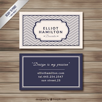 Navy Blue Elegant Visit Card